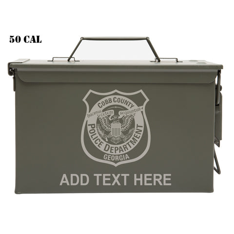 Cobb County Police Department Personalized Engraved Ammo Can Waterproof Storage