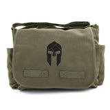 Cracked Spartan Warrior Helmet Heavyweight Canvas Messenger Shoulder Bag