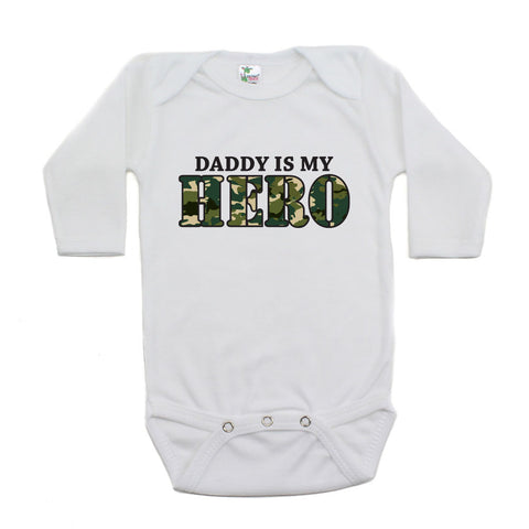Daddy Is My Hero Long Sleeve Baby Bodysuit
