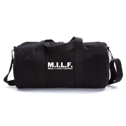 MILF man I love fishing Text Army Sport Heavyweight Canvas Duffel Bag