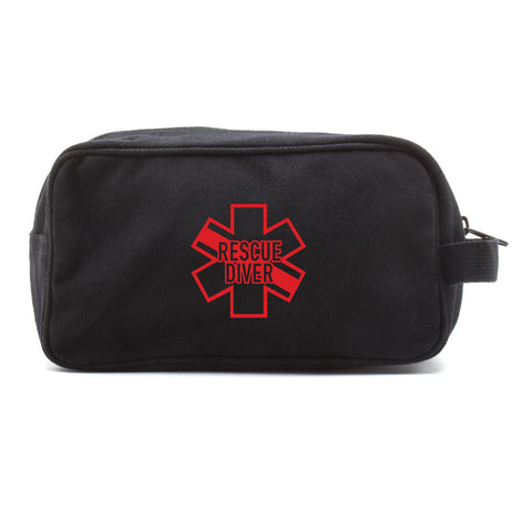 Star of Life Shaped RESCUE DIVER Dual Two Compartment Toiletry Dopp Kit Bag Case