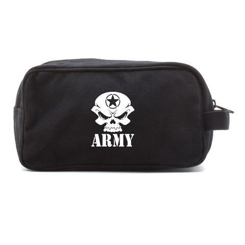 US Army Skull Canvas Shower Kit Travel Toiletry Bag Case