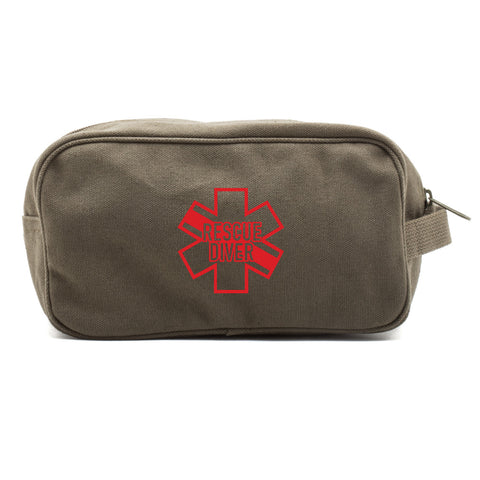 Star of Life Shaped RESCUE DIVER Canvas Shower Toiletry Bag Case