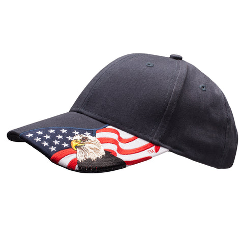 Patriotic American Eagle and Flag Baseball Cap USA 3D Embroidery, Navy Blue Hat