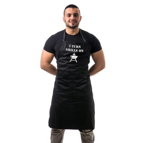 I Turn Grills On Unisex Two Pocket Adjustable Apron for Kitchen BBQ and Kitchen