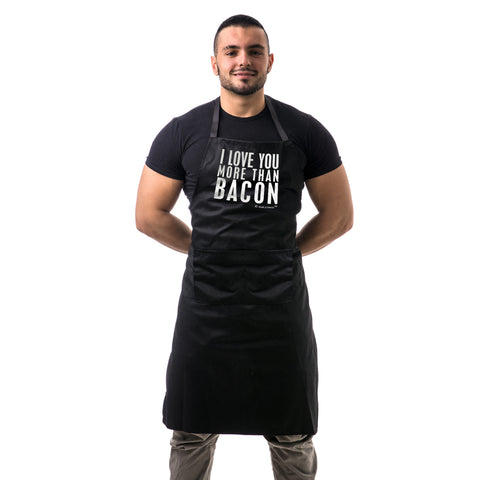 I Love You More Than Bacon Unisex Two Pocket Adjustable Apron for BBQ & Kitchen