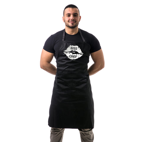 Kiss The Chef Lips Unisex Two Pocket Adjustable Apron for BBQ & Kitchen