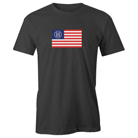 Colored Three Percenter Flag Adult Short Sleeve 100% Cotton T-Shirt