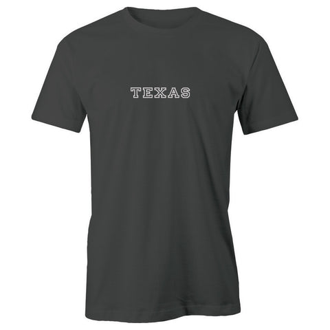 Texas Block Lettering Adult Short Sleeve 100% Cotton T-Shirt