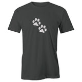 Dog Paw Prints Adult Short Sleeve 100% Cotton T-Shirt