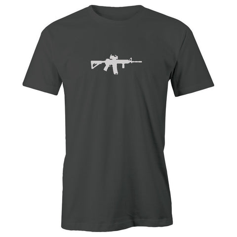 M4 Rifle Silhouette Adult Short Sleeve 100% Cotton T-Shirt