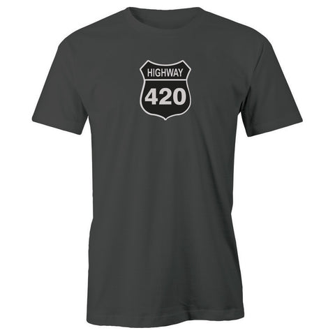 Highway 420 Road Sign Adult Short Sleeve 100% Cotton T-Shirt