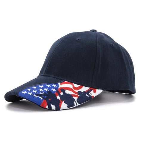 Embroidered US Flag with Fighting Soldier Silhouette Baseball Cap, Navy Blue Hat