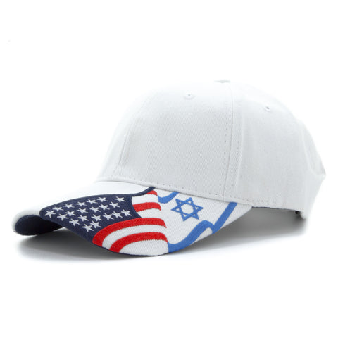 Embroidered Baseball Cap American Flag and Israeli flags Adjustable Hat in White