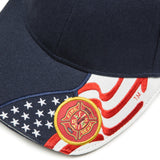 Embroidered USA Flag & Fire Department Adjustable Baseball Cap Hat, Navy Blue