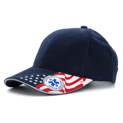 Embroidered USA Flag Emergency Medical Services Baseball Cap Hat, Navy Blue