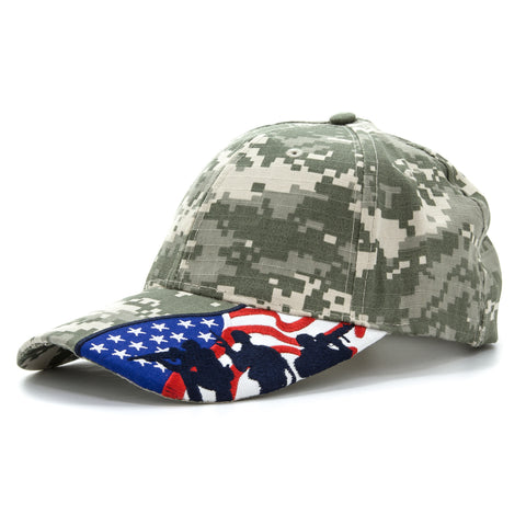 Embroidered US Flag with Fighting Soldier Silhouette Baseball Cap Digital Camo