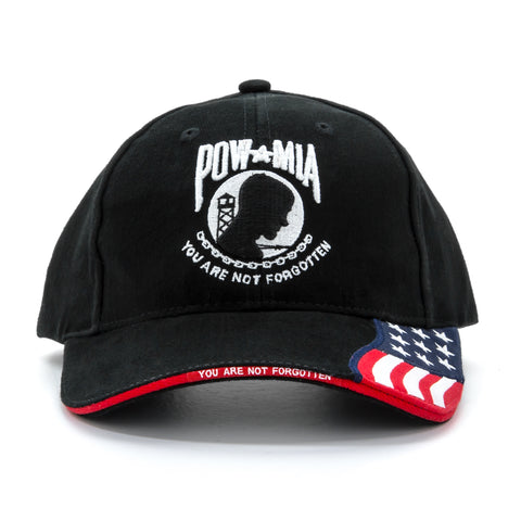 Embroidered POW-MIA You Are Not Forgotten The USA Flag Baseball Cap, Black Hat