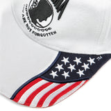 Embroidered POW-MIA You Are Not Forgotten The USA Flag Baseball Cap, White Hat