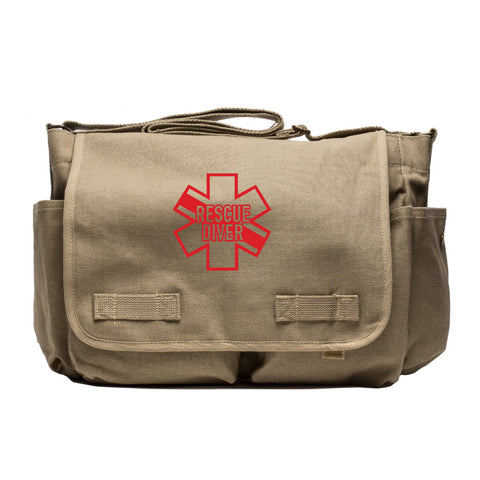 Star of Life Shaped RESCUE DIVER  Canvas Messenger Shoulder Bag