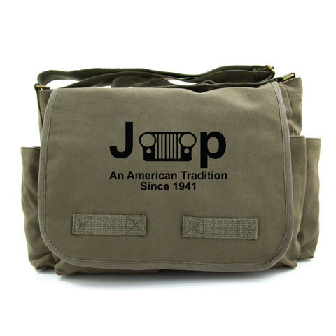 Jeep An American Tradition Since 1941 Heavyweight Canvas Messenger Shoulder Bag