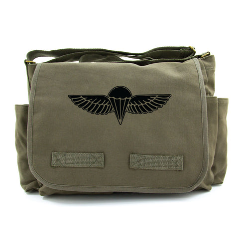 IDF ISRAELI ARMY Paratrooper Wings BADGE Zahal Canvas Messenger Shoulder Bag