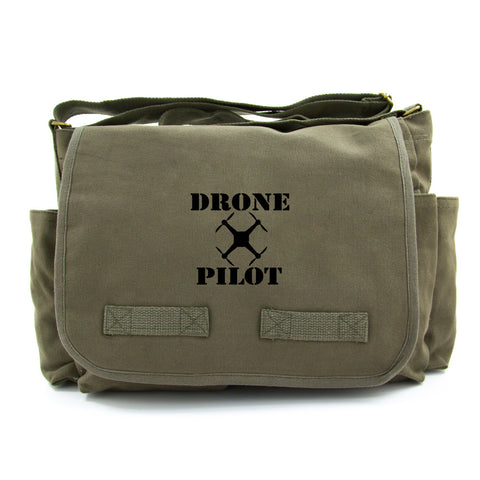 Drone Pilot Army Heavyweight Canvas Messenger Shoulder Bag