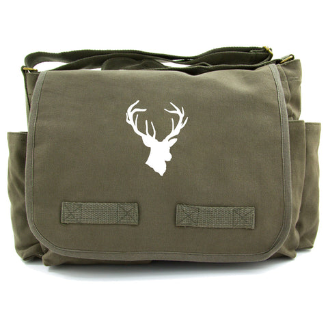 Hunting Deer Buck Antlers Army Heavyweight Canvas Messenger Shoulder Bag