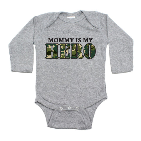 Mommy Is My Hero Long Sleeve Baby Bodysuit