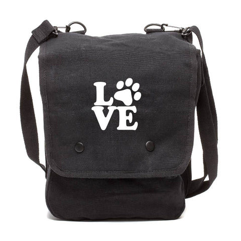 Love Dogs Canvas Crossbody Travel Map Bag Case