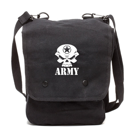 US Army Skull Canvas Crossbody Travel Map Bag Case