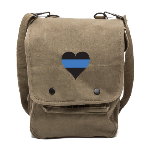 Thin Blue Line Heart Police Canvas Travel Map Bag Case
