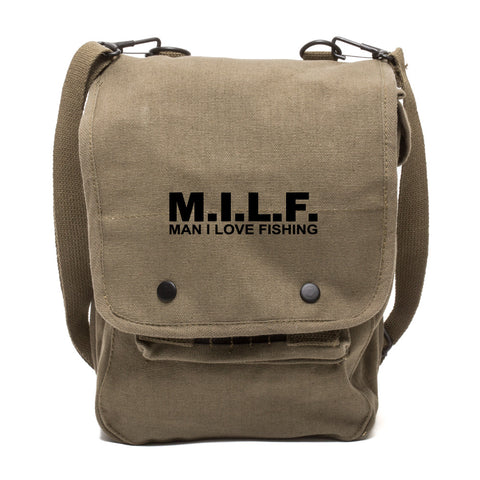 MILF man I love fishing Text Canvas Crossbody Travel Map Bag Case