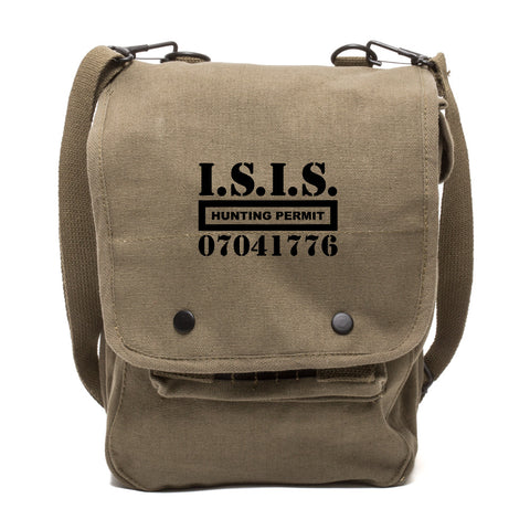 ISIS Hunting Permit Canvas Crossbody Travel Map Bag Case