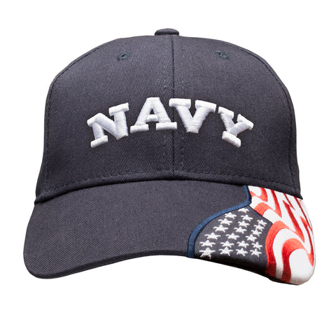 NAVY Embroidered Baseball Cap American Flag USA - Navy Blue Hat
