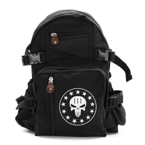 Army Canvas Backpack Bag Bookbag Three Percenter No Surrender Punisher Skull