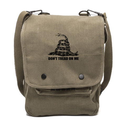 Don't Tread On Me Rattlesnake Canvas Crossbody Travel Map Bag Case