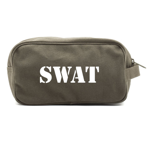 SWAT Team Text Canvas Shower Kit Travel Toiletry Bag Case
