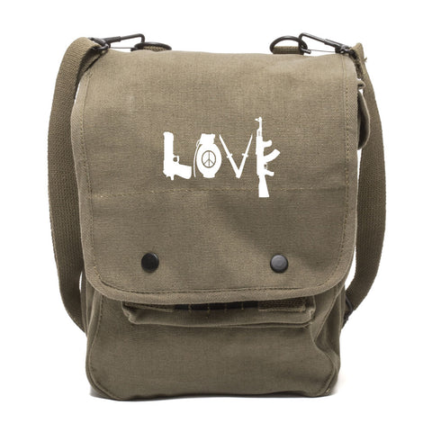 LOVE Peace Sign Grenade AK Canvas Crossbody Travel Map Bag Case