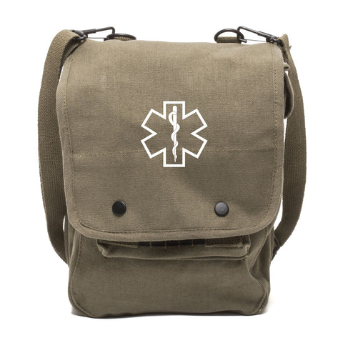 Star of Life Medical Logo Canvas Crossbody Travel Map Bag Case