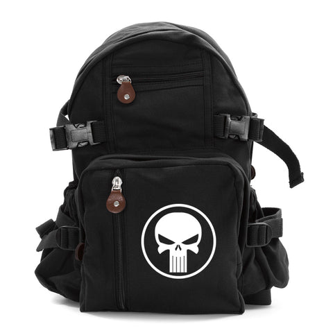 Army Sport Travel Heavyweight Canvas Backpack Bag Punisher Skull With Ring