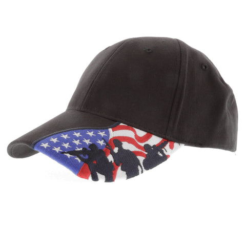 Embroidered US Flag with Fighting Soldier Silhouette Baseball Cap, BLACK Hat