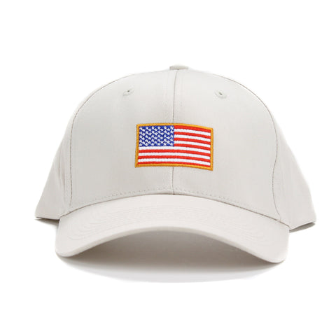 "Embroidered American Flag Baseball Cap USA ""United We Stand"" KHAKI Adjustable"