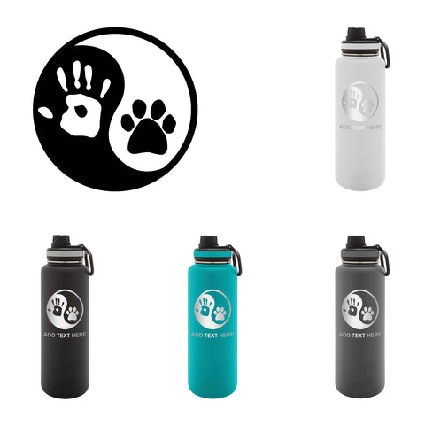 Personalized Engraved Ying and Yang Human Hand Dog Paw Engraved Thermo Flask Water Bottle Water Bottle