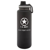 Personalized Engraved U.s. Army With Star Engraved Thermo Flask Water Bottle Stainless Tumbler