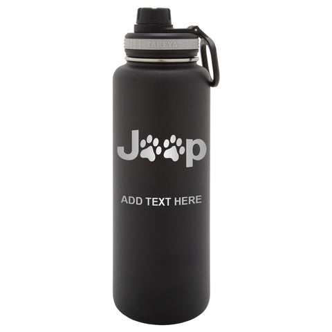 Personalized Engraved Jeep Paw Prints Thermo Flask Water Bottle Stainless Steel Sports Tumbler