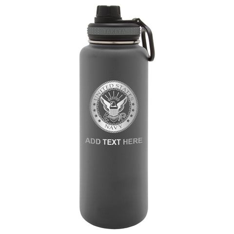 Personalized Engraved Us Navy Logo Thermo Flask Water Bottle Stainless Steel Sports Tumbler