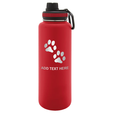 Personalized Engraved Dog Paw Print Engraved Thermo Flask Water Bottle Stainless Steel Tumbler