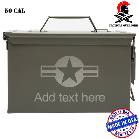 Personalized US Air Force Stars and Stripes Laser Engraved Military Army Survival Box Ammo Can