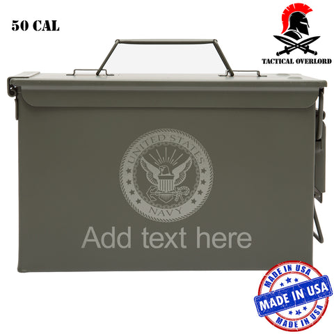 Personalized US Navy Logo Laser Engraved – Indoor Outdoor Military Army Survival Box Ammo Can